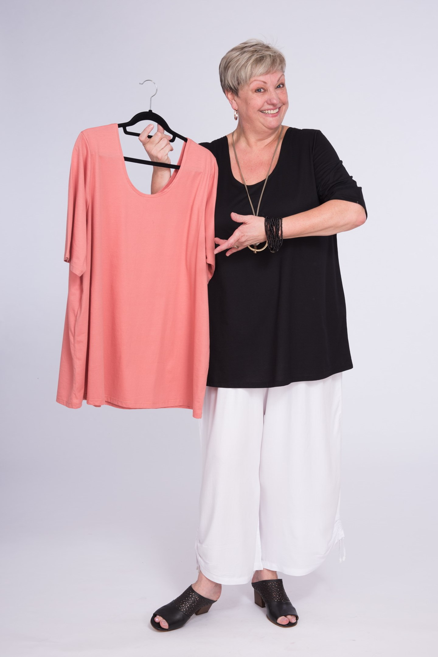 Basic Cotton Top Shell Pink & Black