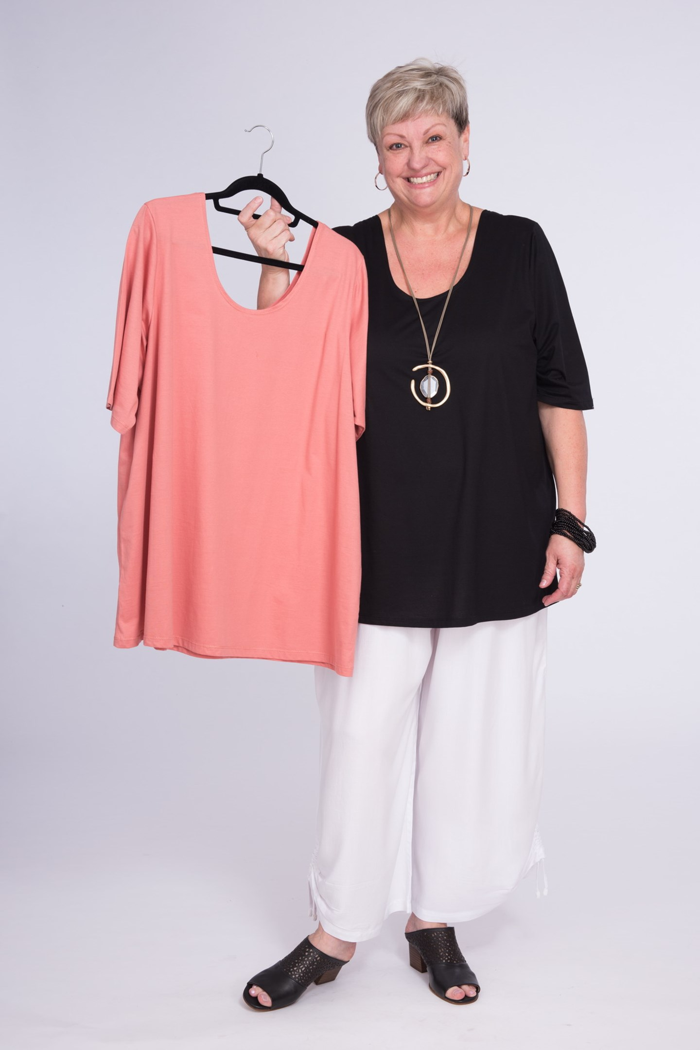 Basic Cotton Top Black and Shell Pink