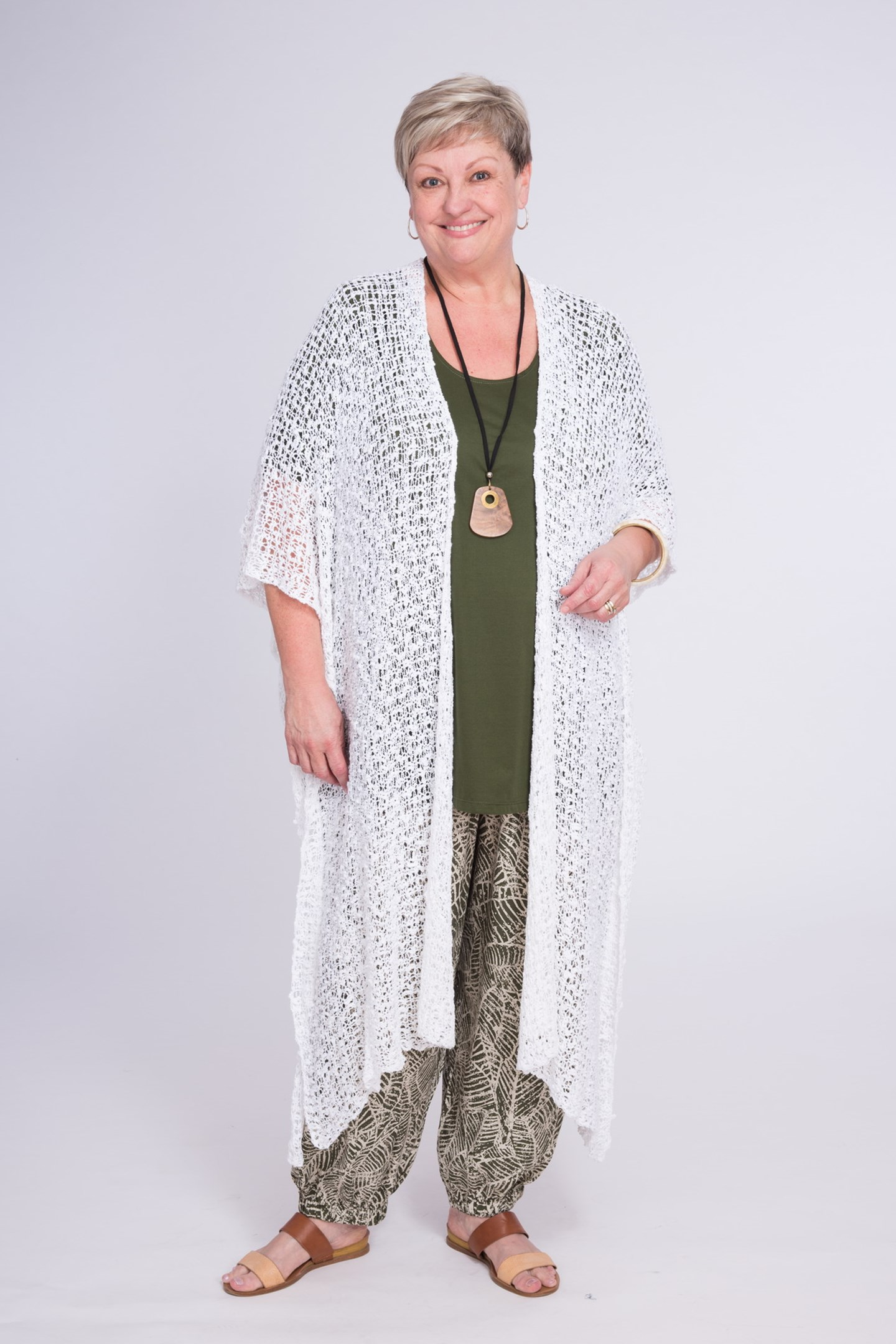 Longline Cardigan Natural White Front full